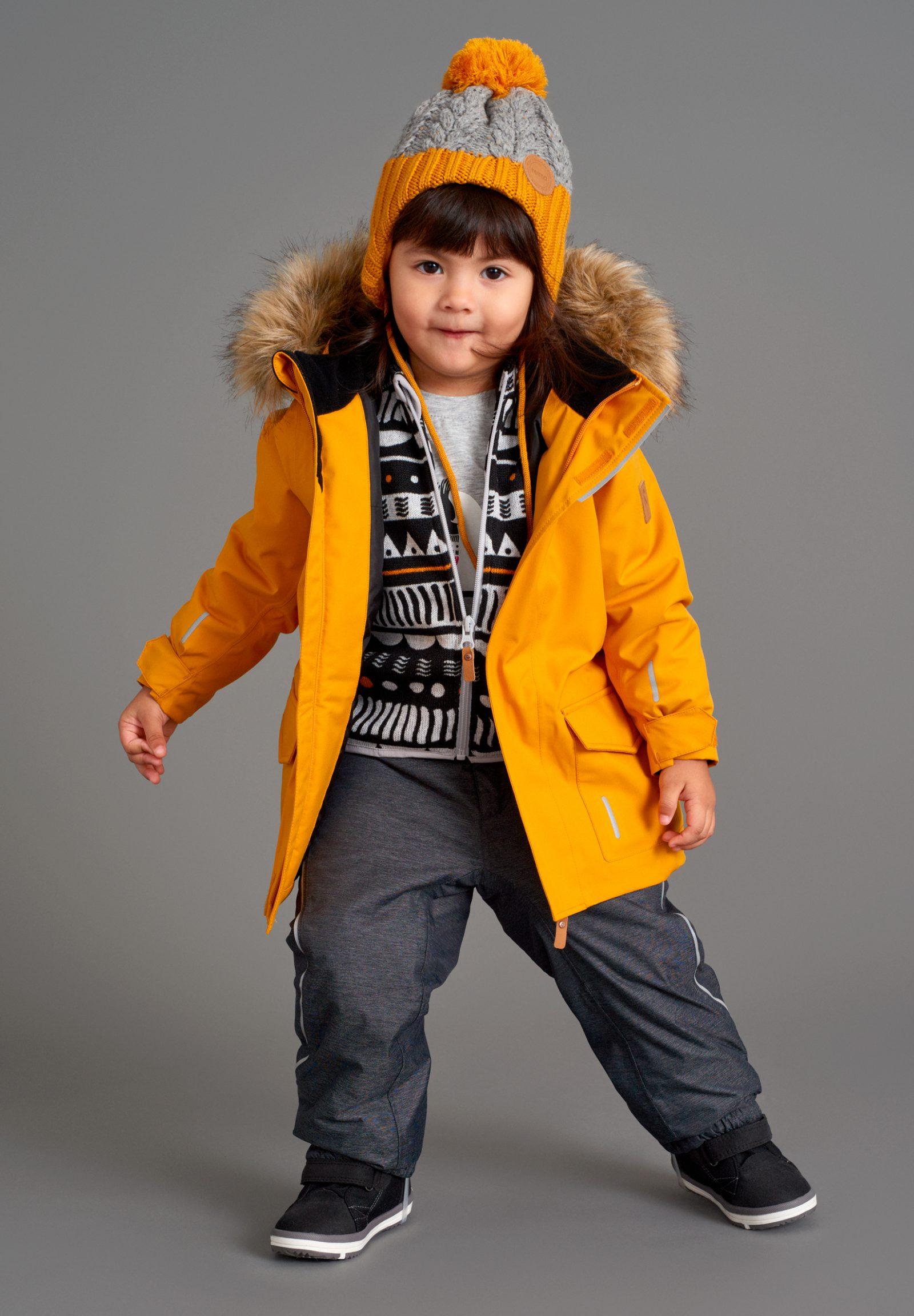 Reima detska bunda Myre, detská zimná čiapka Nahanni, detský sveter Ornament