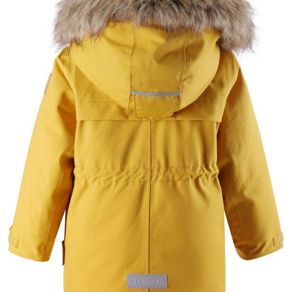Zlta zimna nepremokava detska bunda s kozusinkou Reima Mutka