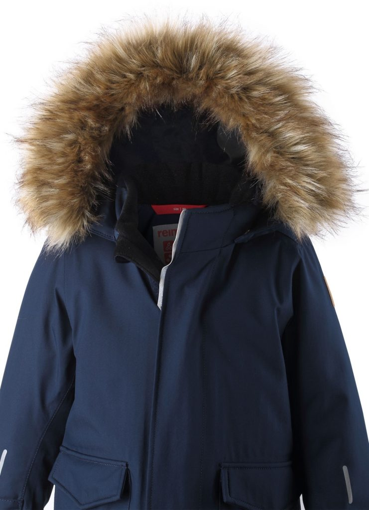 Reima Mutka zimna modra detska nepremokava bunda s kozusinkou