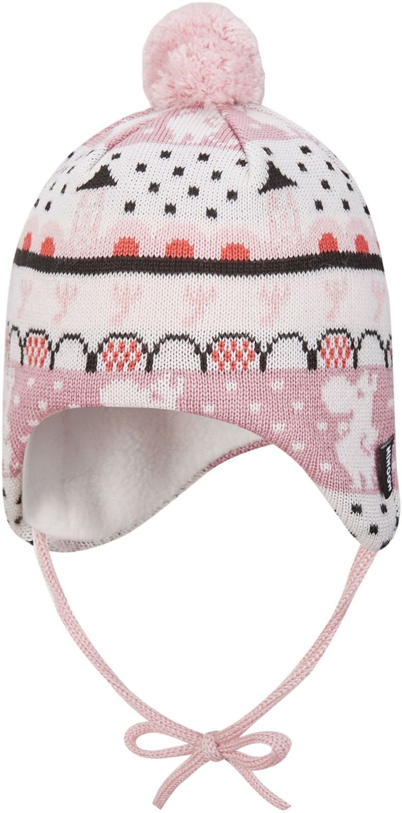 518575m-4301_Reima Moomin Yngst - Blush pink ruzova ciapka z vlny pre babatka